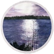 Round Beach Towel featuring the painting Sunset At Niagara River New York by Melly Terpening