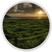 Sunset At Point Sur Round Beach Towel