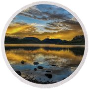 Sunset At Summit Cove Round Beach Towel