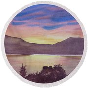 Round Beach Towel featuring the painting Sunset At Woodhead Campground by Joel Deutsch