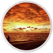 Sunset Before The Storm Round Beach Towel