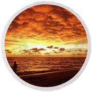 Round Beach Towel featuring the photograph Sunset Before The Storm by Melanie Moraga