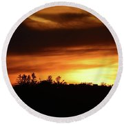 Sunset Behind The Clouds  Round Beach Towel