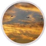 Sunset Flight Round Beach Towel