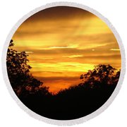 Round Beach Towel featuring the photograph Sunset by Heidi Poulin