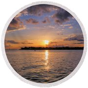 Key West Sunset From Mallory Square Round Beach Towel