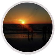 Round Beach Towel featuring the photograph Sunset On The Beach by Gary Wonning