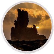 Sunset Over Cliffside Landscape Round Beach Towel by Joe Belanger