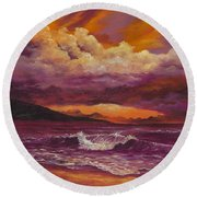 Round Beach Towel featuring the painting Sunset Over Lanai by Darice Machel McGuire