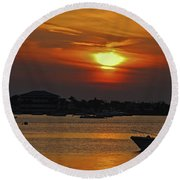 Round Beach Towel featuring the photograph 1- Sunset Over The Intracoastal by Joseph Keane