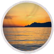 Sunset Over The Sea Round Beach Towel by Lana Enderle