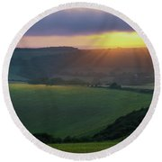 Sunset Over The South Downs Round Beach Towel