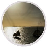 Sunset Schooners Round Beach Towel