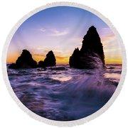 Sunset Splash Round Beach Towel by Alpha Wanderlust