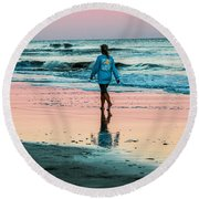 Sunset Stroll In The Surf Hilton Head Round Beach Towel