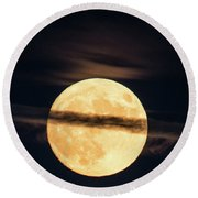 Supermoon Round Beach Towel by Michael Nowotny