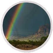 Round Beach Towel featuring the photograph Superstition Rainbow  by Saija Lehtonen