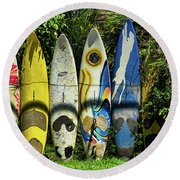 Surfboard Fence Maui Hawaii Round Beach Towel