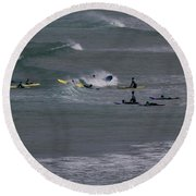 Round Beach Towel featuring the photograph Photographs Of Cornwall Surfers At Fistral by Brian Roscorla