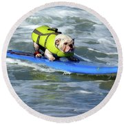 Surfing Dog Round Beach Towel