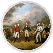 Surrender Of General Burgoyne  Round Beach Towel