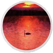 Swan In The Sunset Painting Round Beach Towel