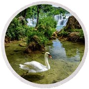 Swan In The Waterfalls Of Skradinski Buk At Krka National Park In Croatia Round Beach Towel