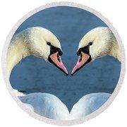 Swans Portrait Round Beach Towel