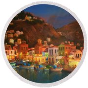 Symi Harbour Greece Round Beach Towel by Joe Gilronan