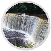 Tahquamenon Upper Falls IIi Round Beach Towel by Michiale Schneider