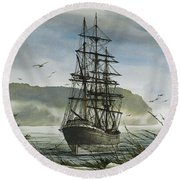 Round Beach Towel featuring the painting Tall Ship Cove by James Williamson