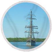 Tall Ship Elissa Round Beach Towel