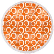 Tangerine Loop Round Beach Towel by Linda Woods