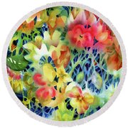 Tangled Blooms Round Beach Towel