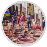 Tannery In Fez Round Beach Towel