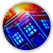 Round Beach Towel featuring the painting Tardis Watercolor Edition by Justin Moore