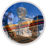 Round Beach Towel featuring the photograph Tarpon Springs Florida Mash Up by David Lee Thompson