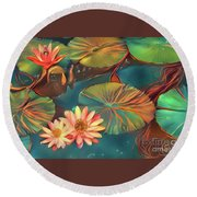 Teal Waterlilies 8 Round Beach Towel
