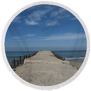 Tel Aviv Old Port 3 Round Beach Towel