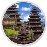 Round Beach Towel featuring the photograph Temple City by T Brian Jones