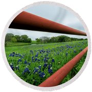 Texas Bluebonnets In Ennis Round Beach Towel