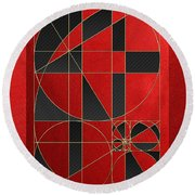 The Alchemy - Divine Proportions - Black On Red Round Beach Towel