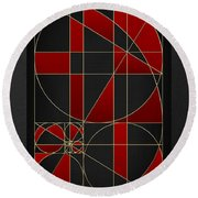 The Alchemy - Divine Proportions - Red On Black Round Beach Towel