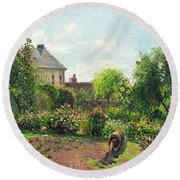 The Artist's Garden At Eragny Round Beach Towel