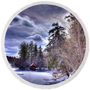 Round Beach Towel featuring the photograph The Beaver Brook Boathouse by David Patterson