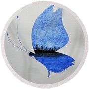Round Beach Towel featuring the painting The Blue Butterfly by Edwin Alverio