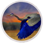 The Blue Heron Round Beach Towel