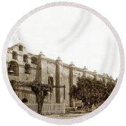 The Campanario, Or Bell Tower Of San Gabriel Mission Circa 1890 Round Beach Towel