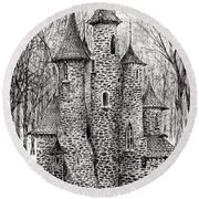 The Castle In The Forest Of Findhorn Round Beach Towel