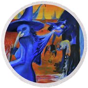 The Cat And The Witch Round Beach Towel